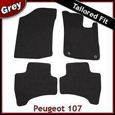 PEUGEOT 107 2005-2014 2-Occhielli montati su misura tappetini auto moquette grigio