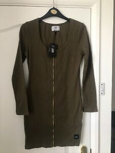 Ladies khaki green zip front bodycon dress- very flattering