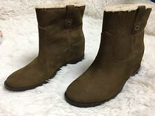 Cole Haan Women Boots Booties Leather Grand.OS Sheep Textured Fur Lined Sz 8 New