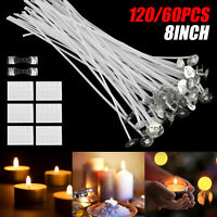 120PCS 8 Inch Candle Wicks Pre-Waxed Wick For Cotton Core Candles DIY Making Set