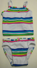 New OLD NAVY Size 12-18 Months  White Blue Striped Two-Piece UPF 50 Swimsuit
