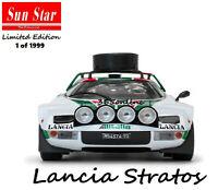 SUN STAR 1/18 Lancia Stratos HF #3 S.Munari S.Maiga Rally Du Maroc 1976 H4625