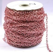 FREE SHIP 2M Pink Plated Cable Open Link Iron Metal Chain Findings BE1387