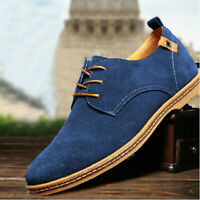 Men's Suede European Style Oxfords Leather Shoes Lace Up Casual Loafers