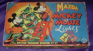 MAZDA  MICKEY MOUSE CHRISTMAS LIGHTS  LARGE 12-LIGHT BOX ONLY  DISNEY 1930'S