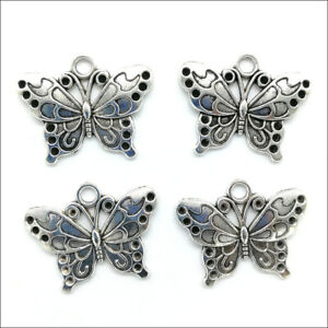 50pcs Butterfly Antique Silver Charms Pendants for Jewelry Making DIY 19*25mm