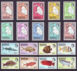 Barbuda 1968 SC 12-28, 80 MNH Set Fish Map