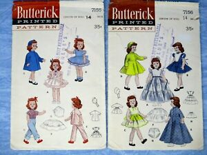 Butterick Vintage Doll Sewing Pattern 7155 7156 14in 1950s