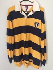 VTG 90s TOMMY HILFIGER WIDE STRIPE YELLOW & BLUE RUGBY SPORT POLO SHIRT size L/G
