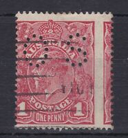G280) Australia 1916 1d Carmine rough paper perf. OS. Used example
