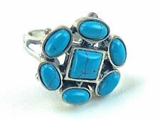 Womens Sterling 925 Marked Ring Set Seven Turquoise Cabochons Size 8 Jewelry
