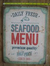 FRESH SEAFOOD MENU Sign Distressed Look Retro Vintage Reproduction 16 x 12