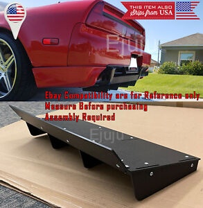 """30"""" ABS Rear Bumper Diffuser Splitter 4 Shark Fin Winglet Wing For Subaru Mazda"""