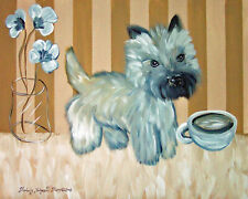 Cairn Terrier Drinking Coffee Mocha Moment Dog Pop Art 8 x 10 Signed Print Ksams