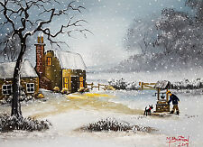 "MAL..BURTON ORIGINAL ART OIL PAINTING "" THE WELL IS FROZEN BOY- WINTER SNOW"