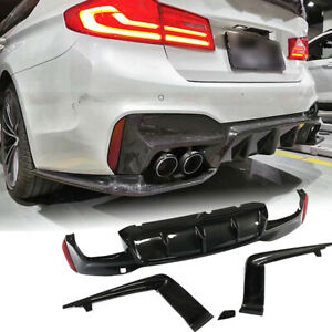 Fit For BMW F90 M5 2018-2020 Rear Bumper Diffuser Splitter Spoiler Carbon Fiber