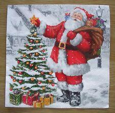 """Lot 3 serviettes en papier """"Père Noël et sapin/christmas"""" (Paper Napkins)"""