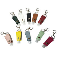 Faux Leather Keychain Keyring with 30ml Bottle Container Travel Reusable Carrier