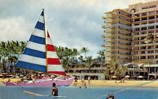 Colorful Catamaran At Hawaiian Village Hotel 1960s Hawaii Postcard