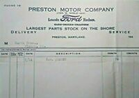 1920s Preston Maryland Ford Lincoln Car Dealership Letterhead John W. Noble