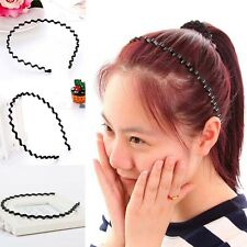 Portable Black Metallic Wavy Hair Head Hoop Band Sport Headband Hairband~