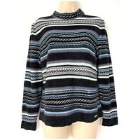St. John Sweater Small Wool Blend Striped Chenille Black Blue Mock Turtleneck