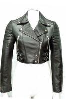 Miss Ladies Black Short Cropped Biker Lamb-Sheep  Womens Leather Glam Jacket uk