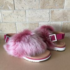 UGG HOLLY FLUFFY CERISE PINK SLINGBACK THONG SANDALS SIZE US 9.5 WOMENS