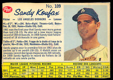 1962 POST CEREAL CANADIAN BASEBALL #109 Sandy Koufax EX+ Cond L A Dodgers HOF