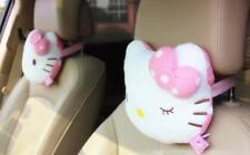 2Pcs Cute Hello Kitty Pink Car Seat Head Rest Cushion Pillows Neck Rest Pillow
