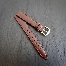 HIRSCH Pelle Marrone Nuova 14mm CONO 12mm Marrone Pelle Cinturino Banda Stitch