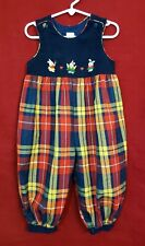 Vtg Baby Togs Girl's Bubble Overalls Plaid Corduroy Top Spring Bunnies 24M