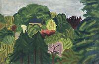 Expressionist Christian Kampmann Landschaft mit gelbem Haus und Bäumen