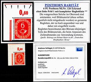 B3) PH Posthorn 6 Pf 126 Ecke E1 mit Anlagezeichen Reglettlinie Schlegel BPP e&e