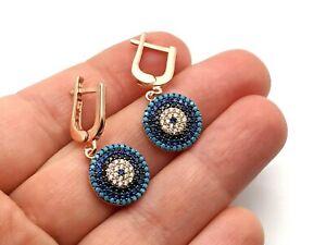 Evil Eye Women's 925 Sterling Silver Earrings Rose Gold