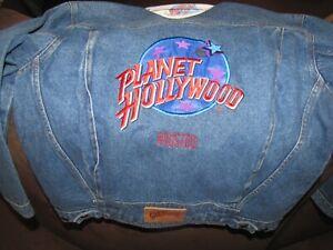 Vintage womans PLANET HOLLYWOOD Houston Denim Jean Jacket - XL
