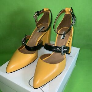 Topshop GUSTO Yellow Buckle Shoes UK Size 8 Eur 41 New With Box