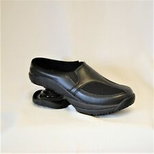Z-Coil FW-10015 Zueco Clog Black Leather & Mesh, Runs Large, Women's size 10