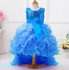 Flower Girl Kid Toddler Sequin Dress Party Tutu Layer Wedding Long Trailing Gown