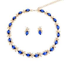 Fashion Women Resin Necklace Earrings Gold Plated Dark Blue Zircon Jewelry Set