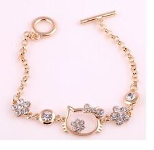 Fashion Golden Hello Kitty Swarovski Elements Crystal Bangle Bracelet Gift Box