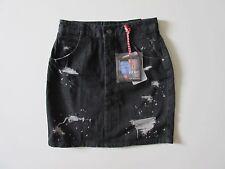 NWT ZARA Trafaluc Denim Black High Waist Destroyed Bleached Pencil Skirt 2