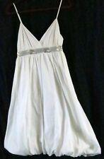 Nicole Miller Dress  White V Neck Spaghetti Strap Empire Waist Knee Length