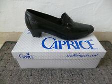 Caprice Zapatos de Tacón Mocasines Mocasínes Abotinado Cuero Negro Nuevo