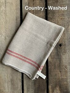 """Charvet Editions """"Country Washed"""" (Red), Natural woven linen tea towel.France."""