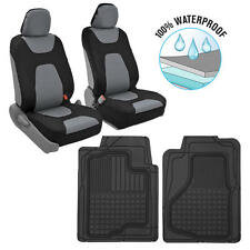 Black/Gray Waterproof Car Seat Covers & FlexTough Rubber Floor Mats Auto Pack