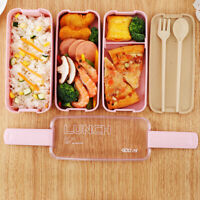 Healthy Lunch Box 3 Layer Wheat Straw Bento Box Microwave Food Storage Container