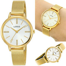 Lorus Ladies Womens Watch Gold Plated Mesh Bracelet with Crystal Set White Dial
