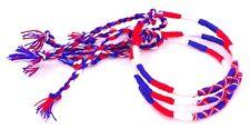 Lot 3 Bracelets Brésiliens de l'Amitié Macramé coton bleu blanc rouge France