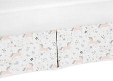 Toddler Bed Skirt Dust Ruffle for Sweet Jojo Pink Grey Gold Unicorn Bedding Sets
